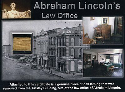 Abraham Lincoln - Genuine Wood From His Law Office Site on Gorgeous Certificate!