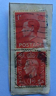 King Edward 8th red used stamp 1d and King George V1 used stamps red 1d