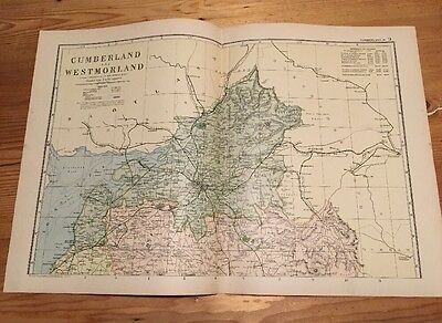 CUMBERLAND NTH - Rare Original Large Antique County Map / Plan  G.W. BACON, 1898