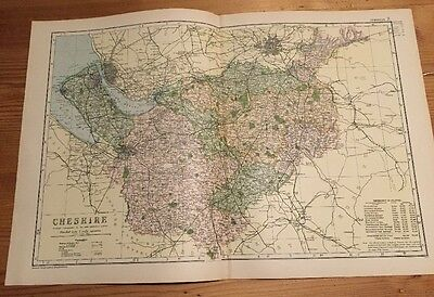 CHESHIRE - Rare Original Large Antique County Map / Plan  G.W. BACON, 1898
