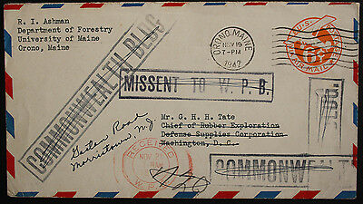 """USA 1942 Redirected 6c Prestamped Airmail Cover """"MISSENT TO W.P.B"""". Boxed Cachet"""