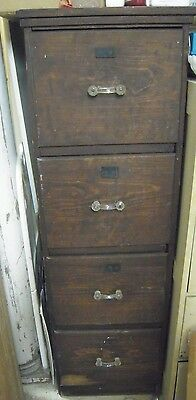 Antique Wood File Cabinet 4 Drawer Filing Cabinet Office Storage Glass Pulls