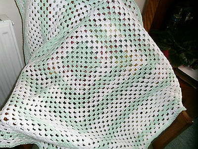 Cot blanket....HAND CROCHET PALE GREEN AND WHITE. 35 X 35  INCHES