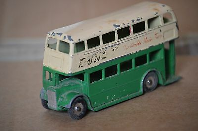 Dinky Toys 29 Double Deck Bus Green And Cream With Aluminium Spun Wheels