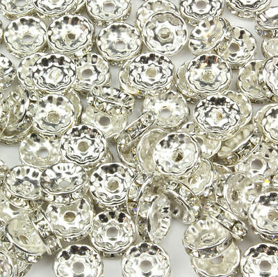 Wholesale 6mm 100pc Silver Plated Rondelle Clear Crystal Rhinestone Spacer Beads