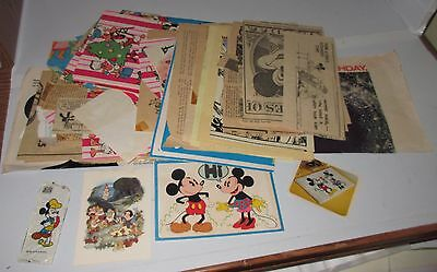 Vintage WALT DISNEY Paper Promotional Advertisement Odd Lot Age Unknown Cards +