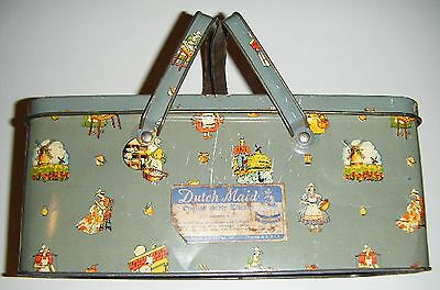 Rare Dutch Maid English Style Biscuit Tin Picnic Style w/Handles
