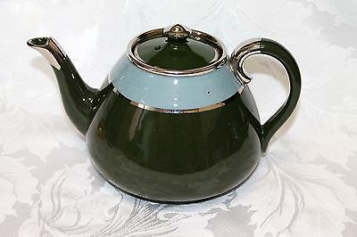 Late Victorian green and blue glazed teapot with silver trim