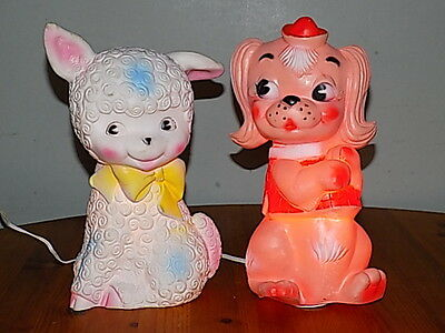 1960's~Pair Of Child's Bedside Lamps~Dog~Lamp~Made By Combex~Working