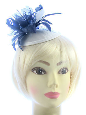 navy and cream fascinator /hatinator for special occasions