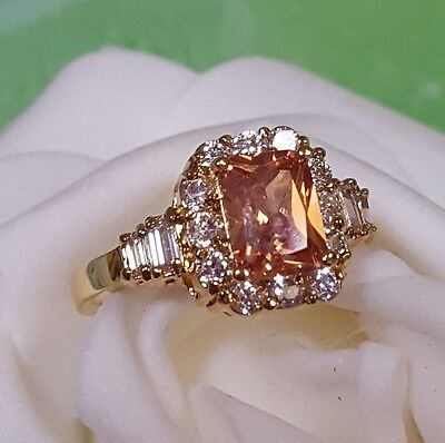 18ct Yellow Gold Filled  Amber stone Dress Ring  Size 8
