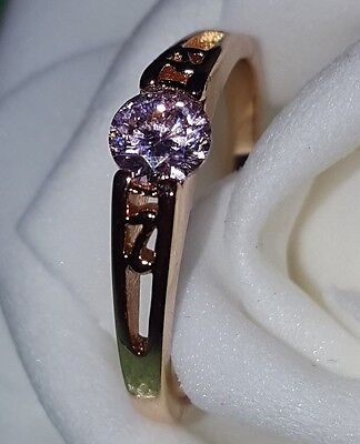 18ct Yellow Gold Filled  Pink stone Dress Ring  Size 9
