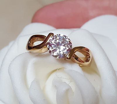 18ct Yellow Gold Filled White stone Dress Ring  Size 7