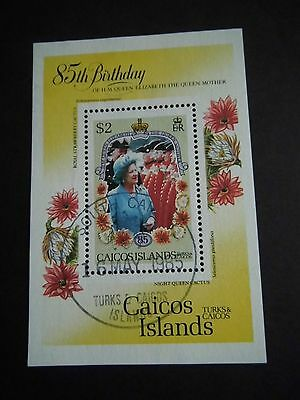 1985 Caicos Islands stamp Fine used Miniature Sheet QUEEN MOTHER Catalogued £3