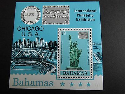 1986 Bahamas stamps Miniature sheet CHICAGO USA Ameripex Stamp Ex MNH CV £3.25