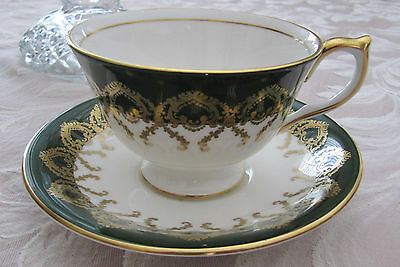 Aynsley Tea Cup And Saucer ~ Green Bands & Gold Filigree ~ Pink Roses