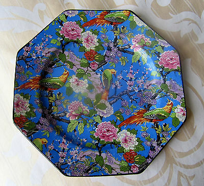 Rare Crown Ducal Ware Octagon Blue Chintz Plate with Exotic Birds