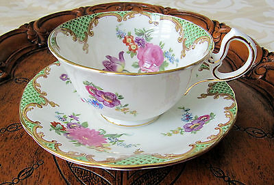 Vintage Aynsley Rich Floral Design Cup and Saucer