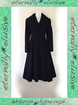 Original 1940s Vintage Long Fitted Princess Swagger Swing Coat Jacket Size 8 10