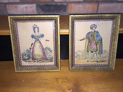 Pair of Antique Hand Colored  Engravings Orlando Hodgson Gilt Framed circa 1840