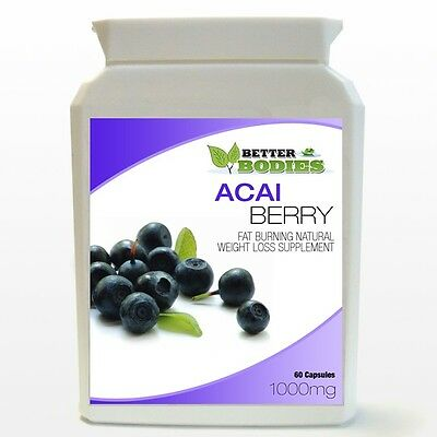 60 HIGH Strength Acai Berry 1000mg Weight Loss Diet Capsules Bottle