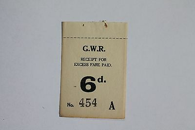 Great Western Railway Receipt for Excess Fare Ticket