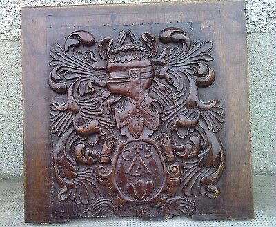 plaque panneau BLASON bois sculpté 18/19 eme siecle ? carved wood coat of arms