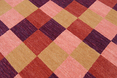 4 x 6 Wool Knotted Area Rug, Pink Purple, Modern, Nontoxic Organic Eco-friendly