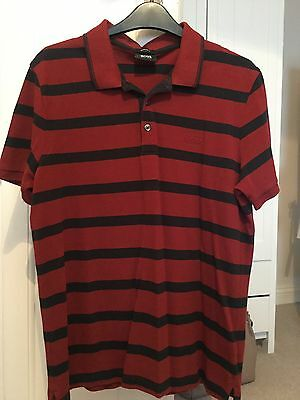 Mens Boss Red Striped Polo Shirt Size Large