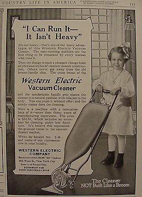 1915 Western Electric Vacuum Cleaner Ad CHILD Vacuuming
