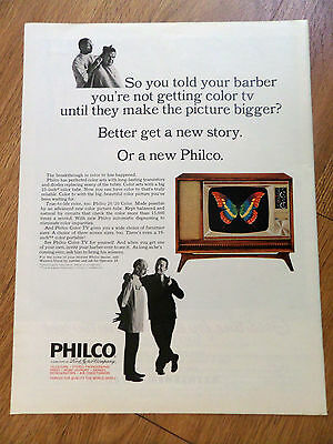 1965 Philco TV Television Ad So You told your Barber You're Not Getting Color Tv
