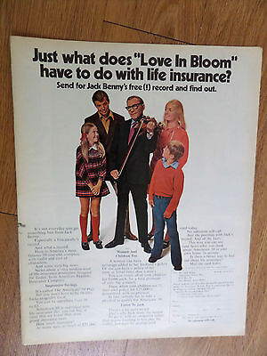 1971 Americare 39 Plan Insurance Ad    Movie Hollywood Star Jack Benny