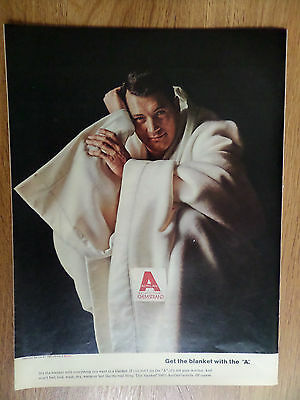 1965 Chemstrand Acrilan Ad  Hollywood Movie Star Rock Hudson
