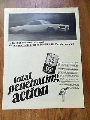 1966 Pure Gas Oil Ad  Ponitac    Today's High Horsepower Cars