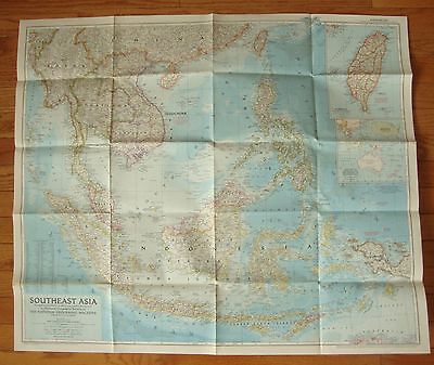 """Vintage 1955 National Geographic Map SOUTHEAST ASIA  29"""" x 34"""""""