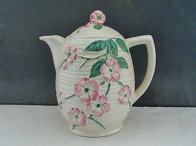 MALING WARE POTTERY LUSTRE PINK BLOSSOM 6584 COFFEE POT/HOT WATER JUG 1930s