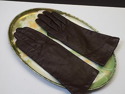Vintage Ladies Chestnut Brown Lined Kid Leather Above Wrist Driving Gloves Sz 7