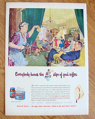 1949 Maxwell House Coffee Ad   Relief in Sight