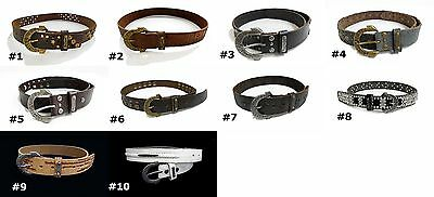 Unisex TRUE RELIGION black brown white studs rhinestones embossed leather belts