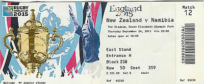 New Zealand v Namibia 24 Sep 2015 RUGBY WORLD CUP TICKET The Stadium, Queen Eliz