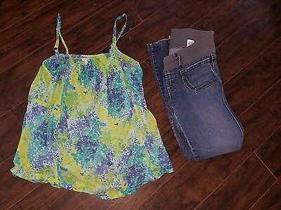 old navy maternity dressy top & jeans outfit med large m/l