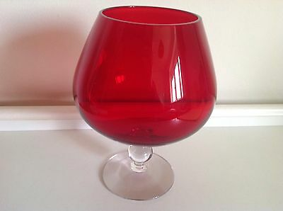 Vintage Large Red Brandy Glass