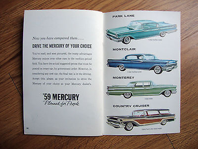 1959 New Car Buyer's Guide Mercury Park Lane Montclair Monterey Country Cruiser