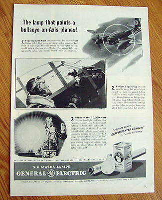 1944 GE General Electric Mazda Ad WW II  Paints a Bullseye on Axis Planes