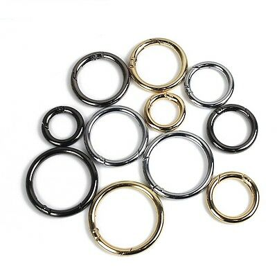 Metal Round Push Gate Snap Open Hooks Key Spring O Rings Collars Buckles Craft