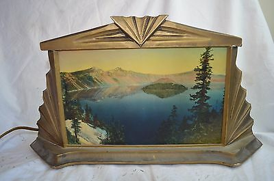 Vintage Art Deco Wood Table Lamp Scenic Mountain Lake Scene Hand Painted Glass