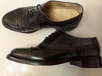 Samuel Samual Windsor all leather brogue shoes black lace up vgc size uk 7.5