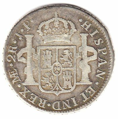 Peru 2 Reales 1818 Jp Lima Mint Silver Coin Spanish Colonial Era F/vf