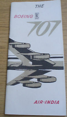 Air India International The Boing 707  Leaflet  1950's