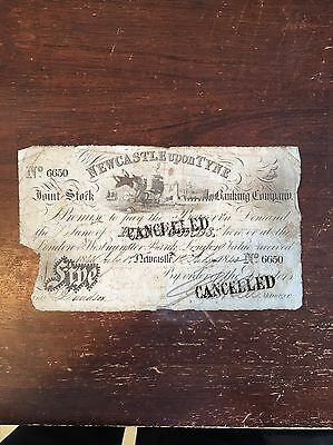 1840 Five Pounds Note,newcastle Upon Tyne Joint Stock Banking Company Nice Note!